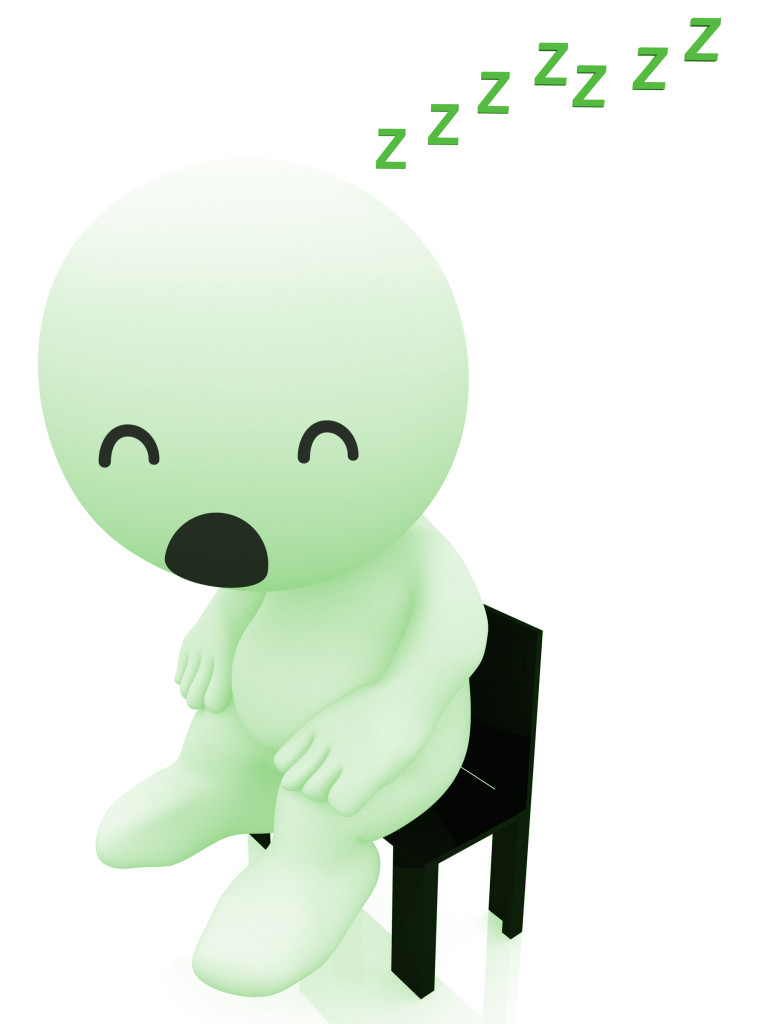 3d person sitting on a bench sleeping - isolated over a white background
