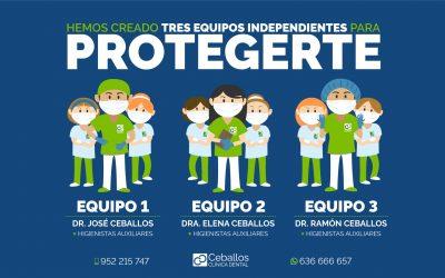 Clínica Dental 100% segura: Separamos nuestros equipos para protegerte.